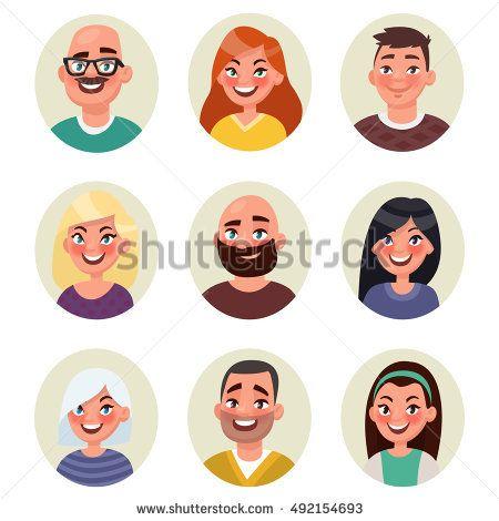 Set avatars happy smiling people. Vector illustration