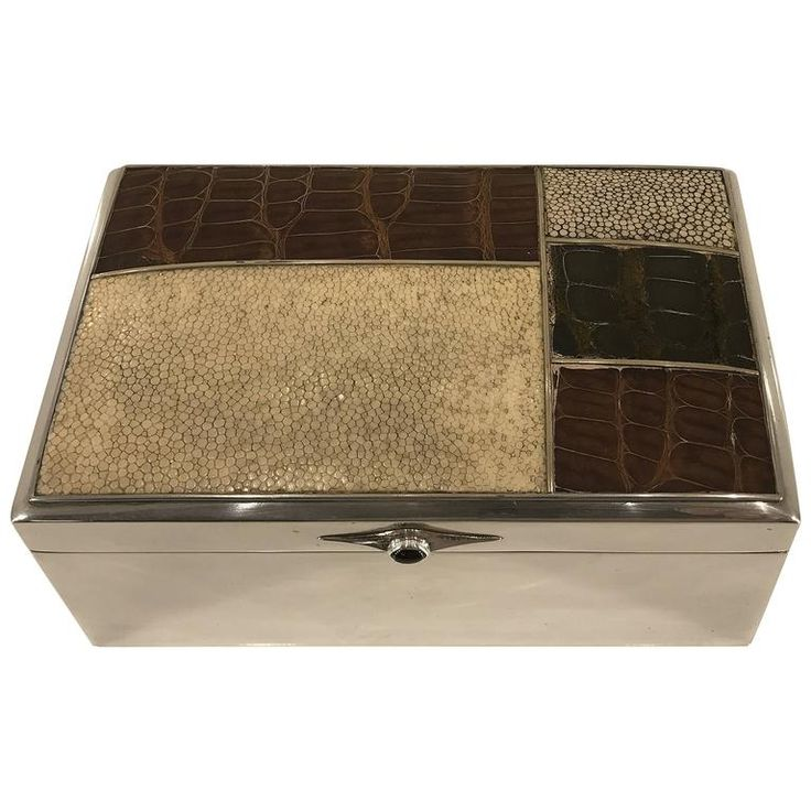 Scandinavian Modern Sterling Shagreen and Alligator Box by David Anderson, 1966 | From a unique collection of antique and modern decorative-boxes at https://www.1stdibs.com/furniture/decorative-objects/boxes/decorative-boxes/