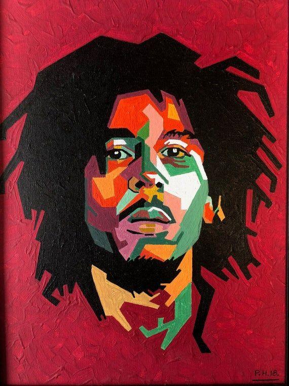 Bob Marley Vibrant Geometric One Off Handpainted Acrylic Of Etsy Bob Marley Art Bob Marley Art Painting Bob Marley Painting