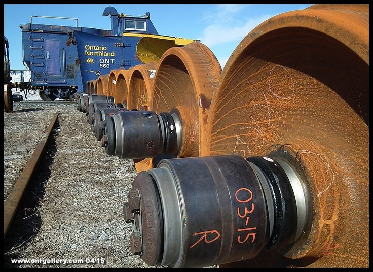 We're along Cochrane's rip track April 17, 2015 where we see some newly rebuilt wheel sets recently delivered from the Wheel Shop at North Bay ready to replace damaged or worn wheel sets that happen to enter ONR territory.