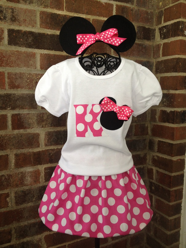 Minnie Mouse Skirt Outfit - Birthday Outfit - Disney Vacation Outfit - Girl, Toddler Girl. via Etsy.