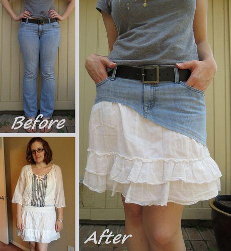 Denim Frill Skirt Refashion by CarissaKnits