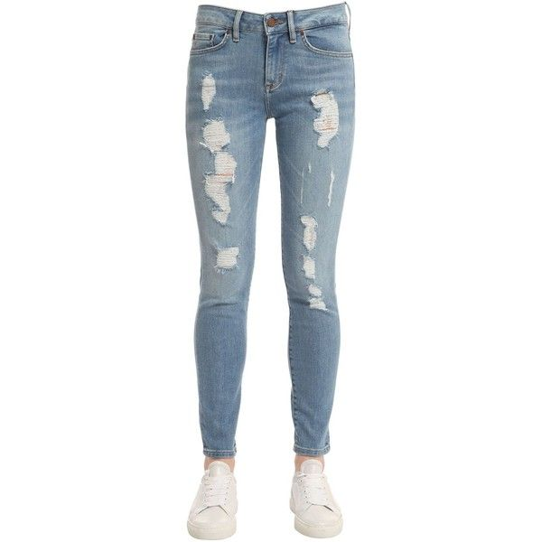 Tommy Hilfiger Women Distressed Raw Denim Jeans Gigi Hadid ($260) ❤ liked on Polyvore featuring jeans, blue, destroyed jeans, destruction jeans, ripped blue jeans, button-fly jeans and tommy hilfiger