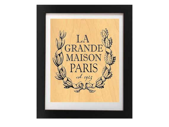 Vintage French Sign Printed On Real Wood  by TheWoodPaperShoppe
