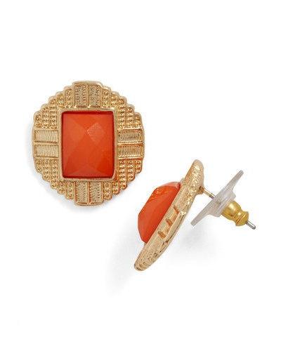 orange stone earrings