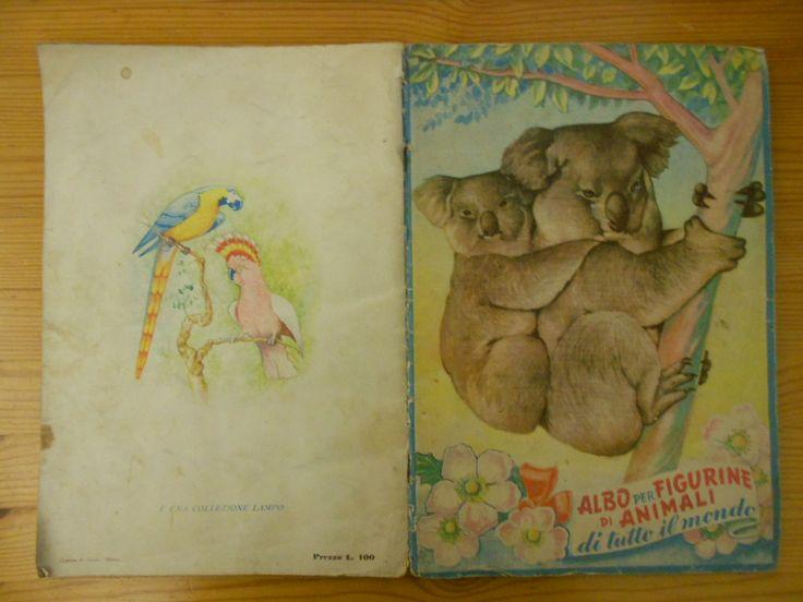 40 euro. Albo per figurine di animali, ed. Lampo, 1950. Completo. Condizioni piuttosto buone (soprattutto in relazione ai suoi 65 anni!).