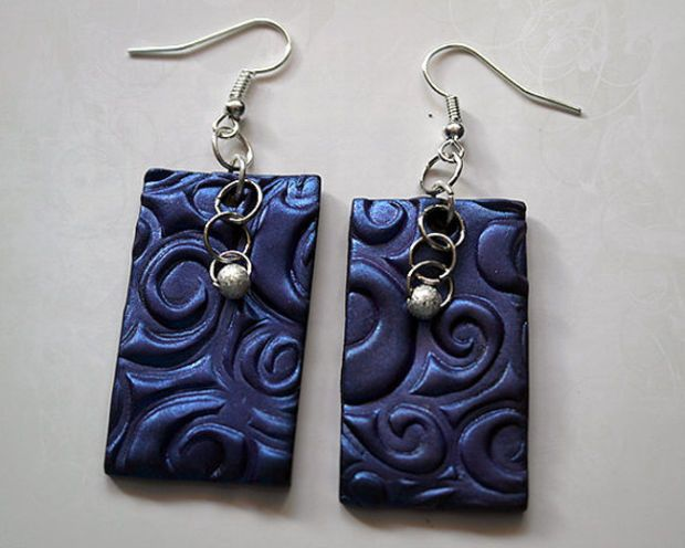 Blue swirl earrings made from polymer clay