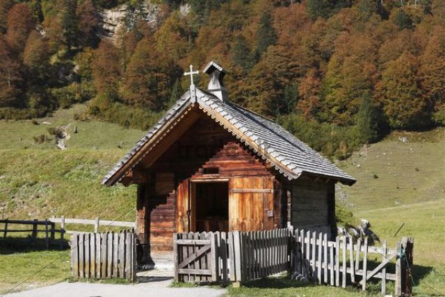 Eng-Alm small chapel on mountain pasture Grosser Ahornboden pasture with maple trees Risstal Karwendel Mountains Tyrol Austria Europe PublicGround