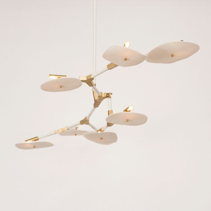 desert 8 helius lighting group tags. modren helius lindsey adelman studio with porcelain disc shades brushed brass hardware  and custom light grey lacquer arms in desert 8 helius lighting group tags u