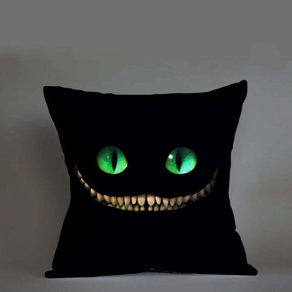 chesire cat face pillow case custom zippered pillow by moonmug