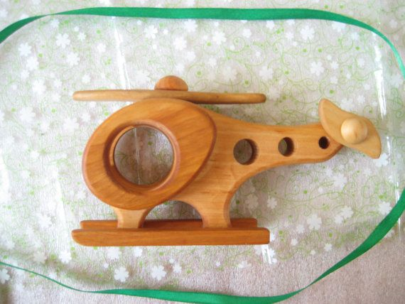 Kids Wooden toy Helicopter. Handmade by ArtGiftStoreEcoToys
