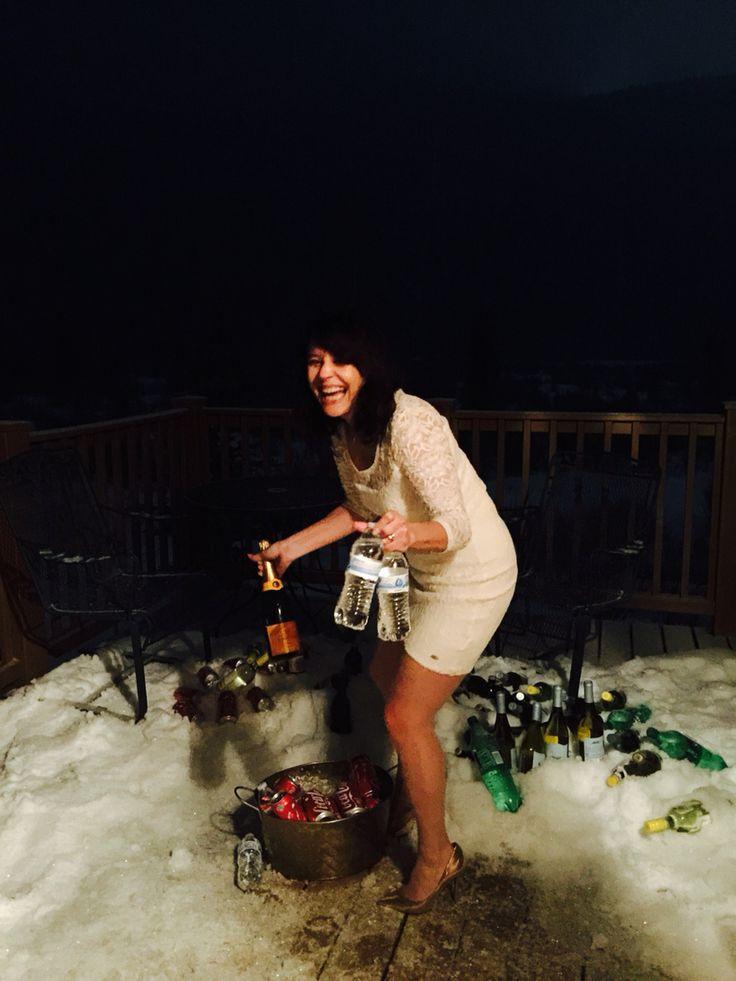 Using snow to keep drinks cold at our wedding. Wedding Keystone Colorado