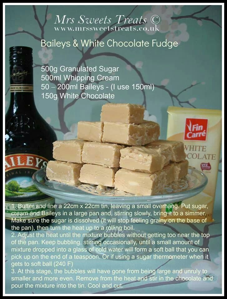 baileys and white chocolate fudge!