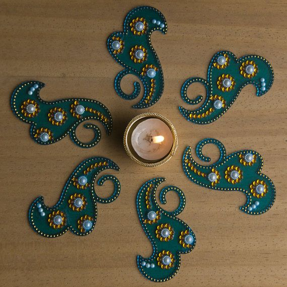 Reusable Diwali Rangoli Kundan Rangoli Blue with tea by Shimmeria