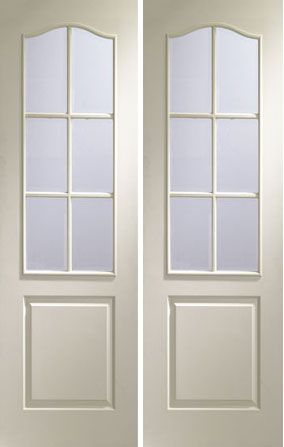White Primed Moulded Panel  6 Light Pair with Clear Safety Glass