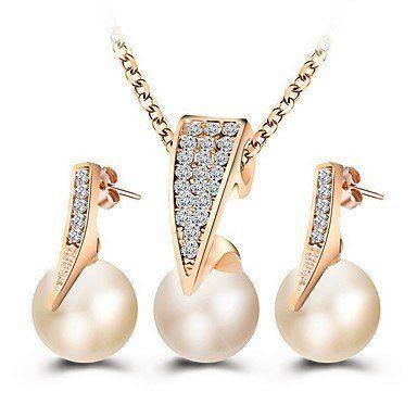 Rose gold met witte imitatie parel set sieraden