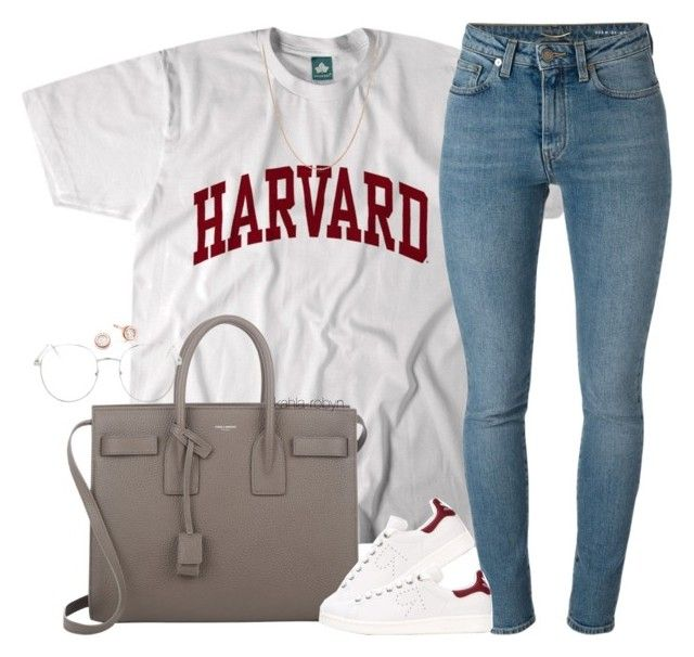 """""""Uni   II   VI   XVII"""" by kahla-robyn ❤ liked on Polyvore featuring Yves Saint Laurent, adidas, Topshop and David Yurman"""