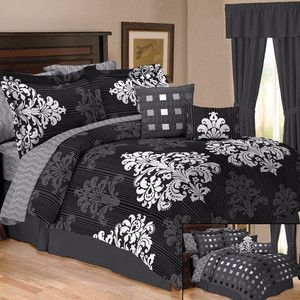10pc Damask Toile Black White Grey Comforter Bed Set Queen Sz All Reversible   eBay
