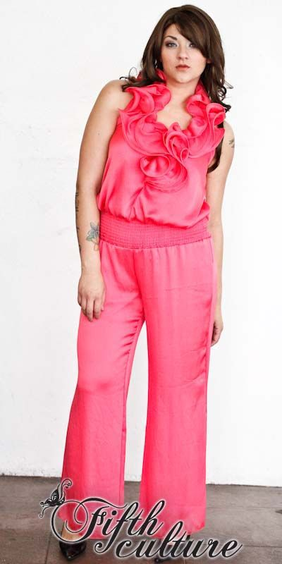 pink plus size jumpsuit