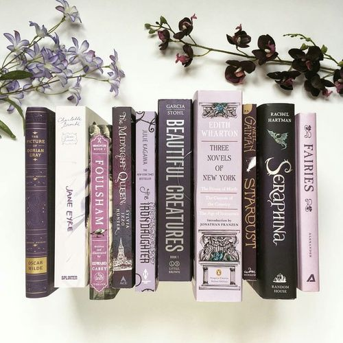 Colors of spines-Lavender…I want to do this! Organize my books by color…I wo…