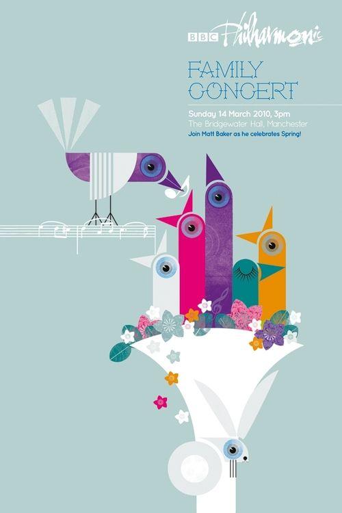 Spring Concert by Rose Lloyd  #ILLUSTRATION: Lloyd Illustrations, Spring Concerts, Graphics Design, Cool Ideas, Rose Lloyd, Posters Ideas, Colors Birds, Concerts Posters, Design Posters