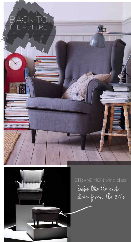 the timeless strandmond chair from ikea..quite affordable..can be improvised with a little help of styling