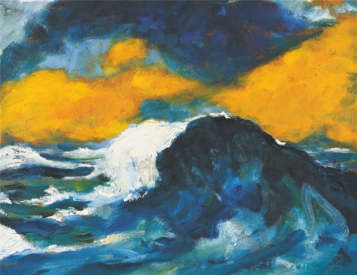 Emil Nolde, Hohe Sturzwelle, 1948, 68,5 x 88,5 cm, oil on canvas.Nolde Foundation Seebüll, © Nolde Foundation Seebüll, 2013.