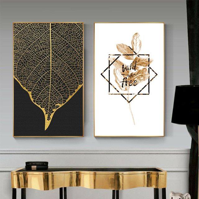 Nordic Goldene Blumen Blatt Leinwand Malerei Poster Drucken HD Decor Wand Kunst …