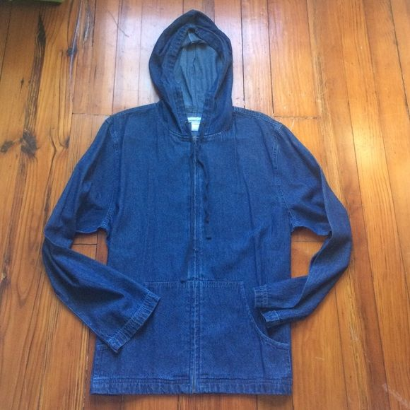 Denim Zip-up Jacket NWOT Full zip denim  jacket, never worn! Has a hood and adjustable strings, style very retro chic, would look great with leggings and boots! Serengetic  Jackets & Coats