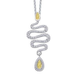 Lafonn Snake Necklace #yearofthesnake    SIMULATED CLEAR/CANARY DIAMOND STERLING SILVER BONDED WITH PLATINUM