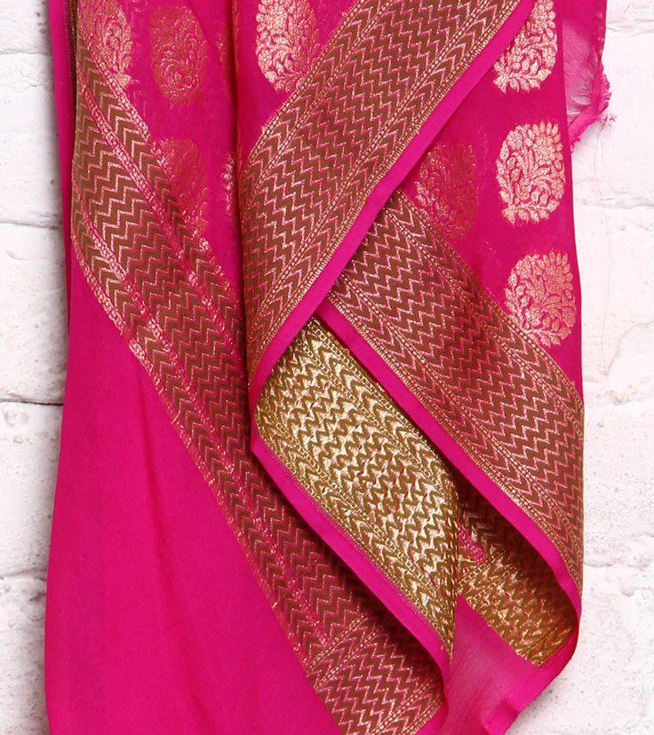 Pink Handloom Banarasi Chiffon Silk Dupatta