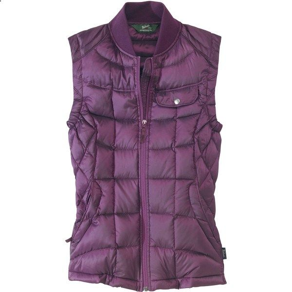 Woolrich Womens Abington Down Vest (8.520 RUB) ❤ liked on Polyvore featuring outerwear, vests, tops, blackberry, water resistant vest, purple down vest, fitted vest, purple waistcoat and pattern vest