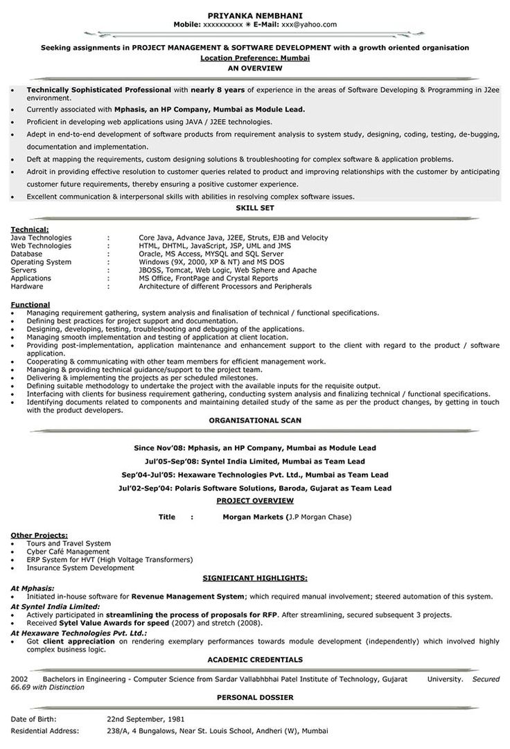 Resume Format For 5 Years Experience In Testing ,