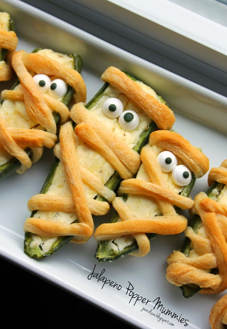 jo and sue halloween dinner tons of spooky food ideas like these jalapeno popper mummies - Halloween Buffet Food Ideas