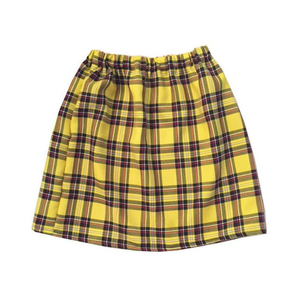 Yellow Tartan Plaid Skirt Clueless Outfit Cher Clueless Costume Womens... ($38) ❤ liked on Polyvore featuring skirts, yellow skater skirt, checkerboard skirt, checked skirt, brown plaid skirt and plaid skirt