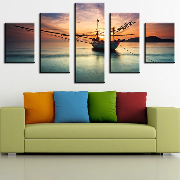 5 Panel boat at sunset Modern Home Wall Decor Canvas Picture Art Print WALL Painting Set of 5 Each Canvas Arts Unframe