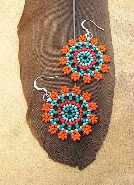 Seed Beaded Earrings Mandala Flower in Orange by HANWImedicineArt