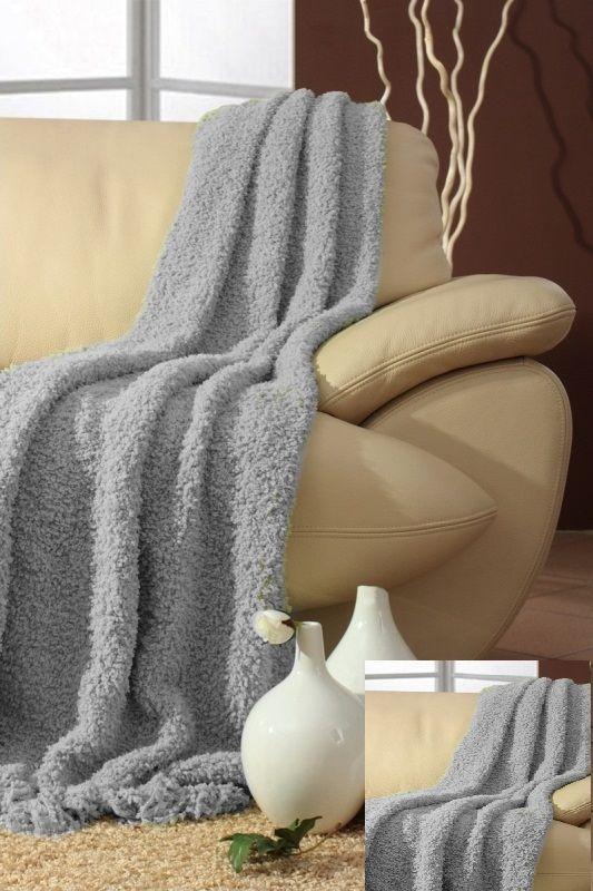 Narzuta szara na kanpę i fotele komplet