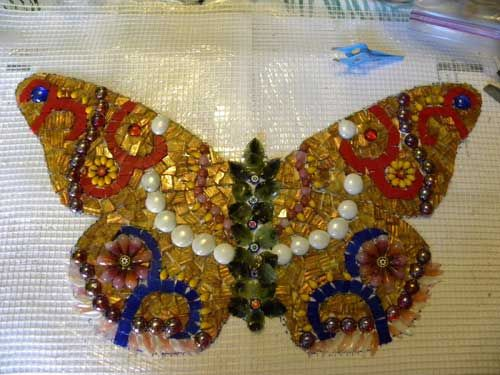 Using mesh to create mosaics: mosaic butterfly on mesh