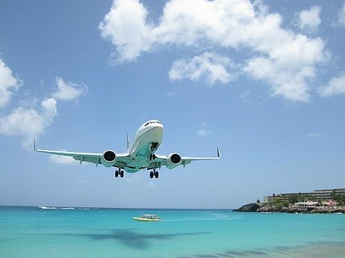 Avion en atterrissage aux Antilles Néerlandaises