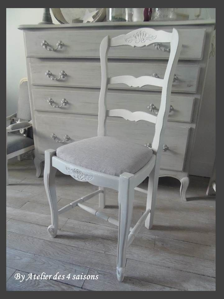 4 chaises style louis xv atelierdes4saisons patin es gris perle blanc poudr tapiss es de lin. Black Bedroom Furniture Sets. Home Design Ideas