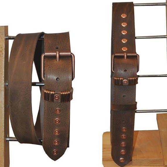Handmade quality  leather belt in  light blue