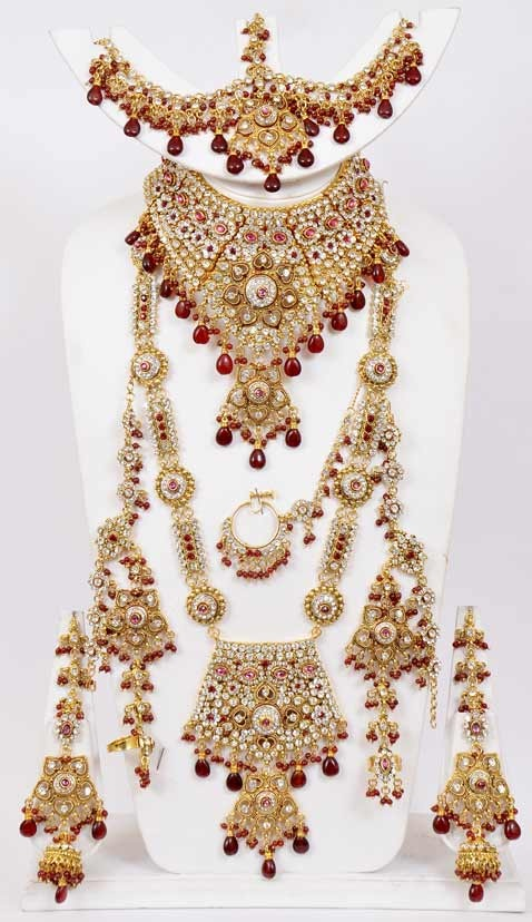 Maroon Stone Studded Bridal Necklace Set Online Shopping