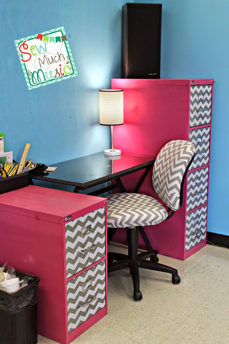 Sew Much Music teacher desk filing cabinet makeovers reupholstered desk chair Chevron