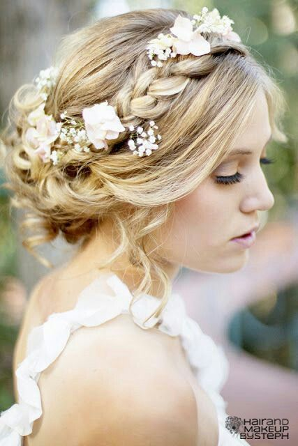 #Wedding Hairstyle: Hair Ideas, Weddinghair, Bridesmaid Hair, Flowers Crowns, Flowers Girls, Bridal Hair, Hair Style, Bridalhair, Wedding Hairstyles