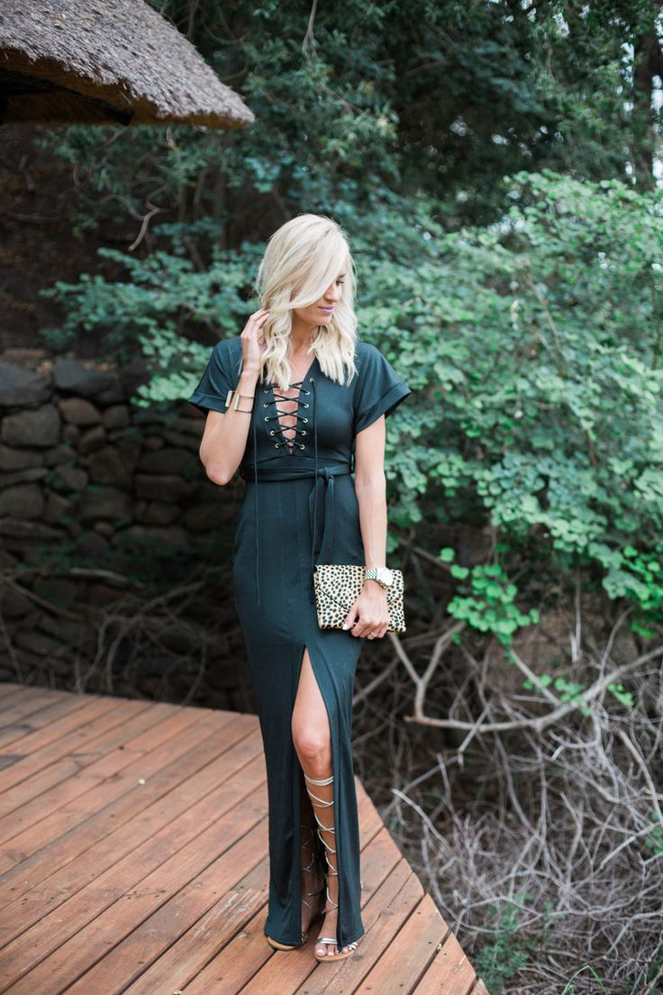 McKenna Bleu in the Vanessa Lace Up Belted Split Skirt Maxi Dress from boohoo.com