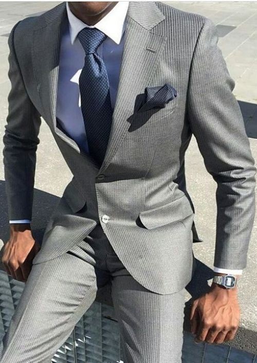Men S Grey Suit With Blue Shirt And Matching Blue Tie