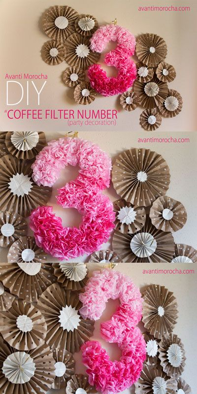 DIY Coffee Filter Number. This is a great Birthday Party Decoration. Backdrop