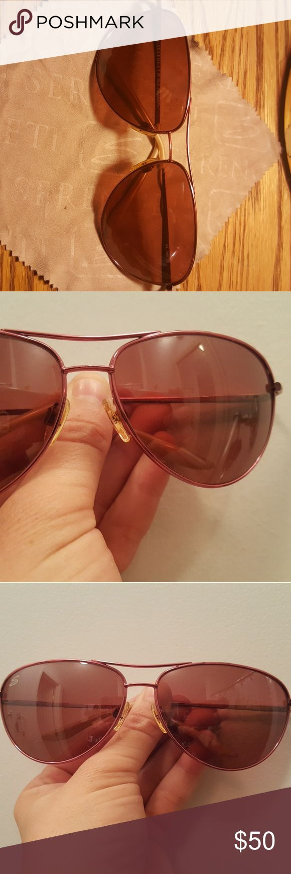 Pink Aviator Sunglasses Custom All pink aviator style Serengeti sunglasses. Worn once. Comes with cleaning cloth as well. Serengeti Accessories Sunglasses