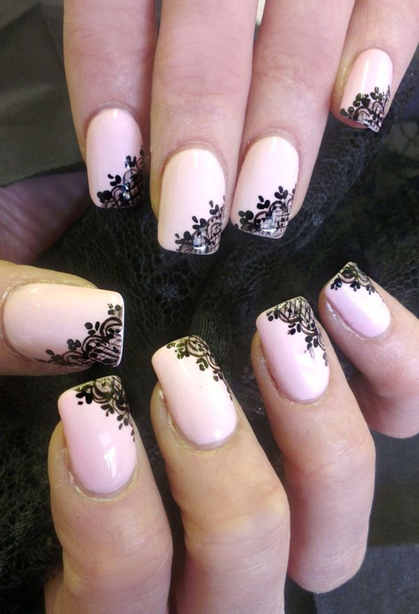 Emmy DE * Classy Nail Art #lace #black #pink                              …